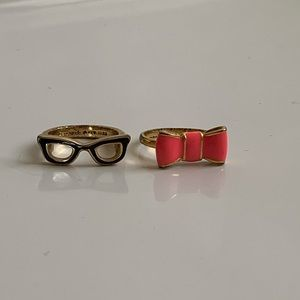 Set of two Kate spade size 7 rings - glasses / bow